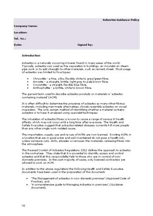 Asbestos Guidance Policy