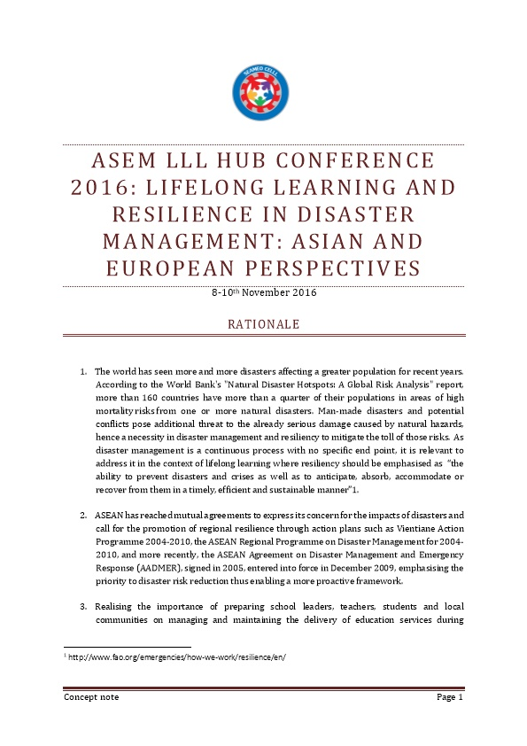 ASEM LLL HUB CONFERENCE 2016: Lifelong Learning and Resilience in Disaster Management