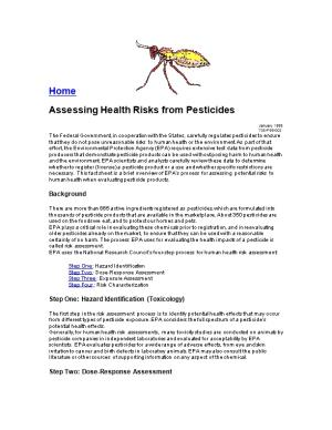 Assessing Health Risks from Pesticides