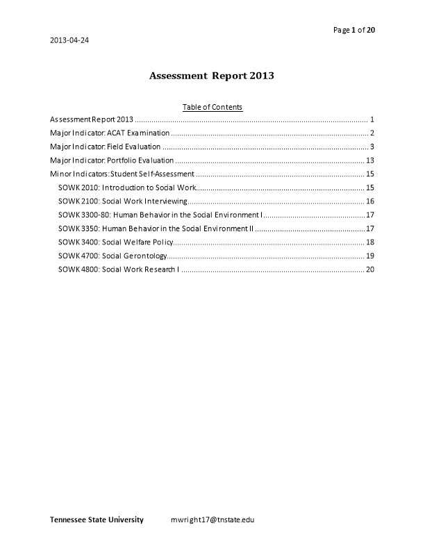 Assessment Report 2013