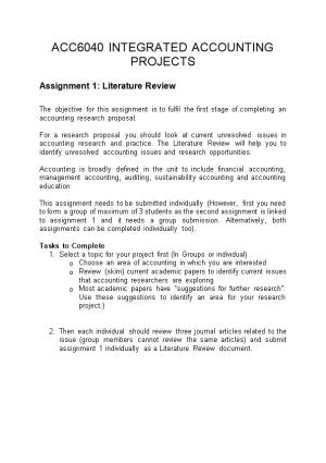 Assignment 1: Literature Review
