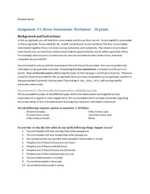 Assignment #1: Stress Assessments Worksheet - 20 Points
