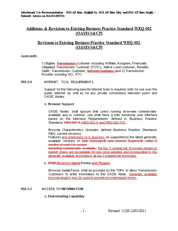 Attachment 3 to Recommendation - 2011 AP Item 2(A)(I)(1-8), 2011 AP Item 2(B), and 2011