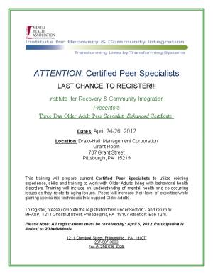 ATTENTION: Certified Peer Specialists