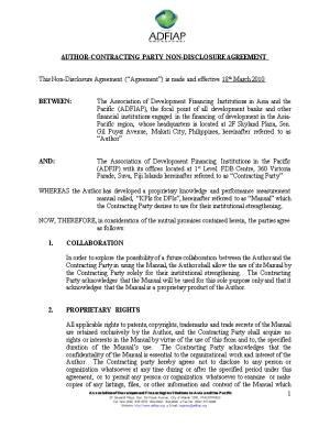 Author-Contracting Party Non-Disclosure Agreement