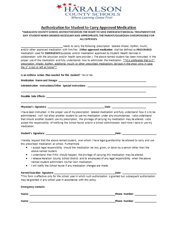 Authorization for Student to Carry Approved Medication