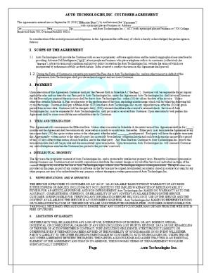 Auto Technologies, Inc. Customer Agreement