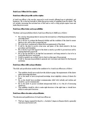 Bank Loan Officer Job Description