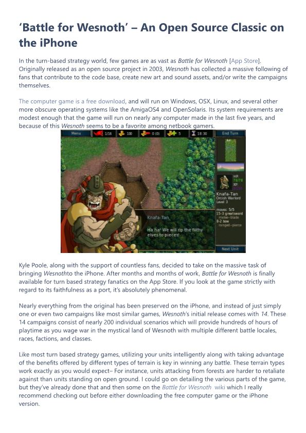 'Battle for Wesnoth' – an Open Source Classic on the Iphone