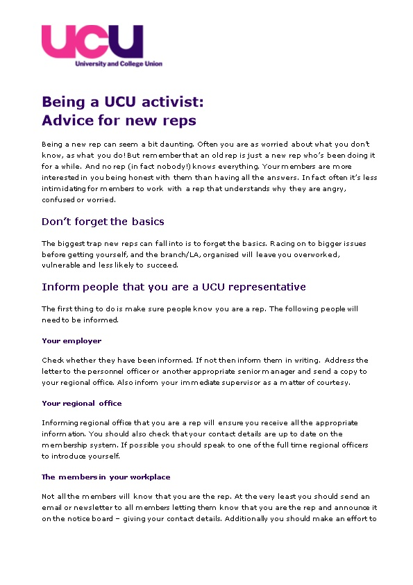 Being a UCU Activist: Advice for New Reps