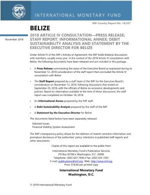 Belize 2018 Article Iv Consultation