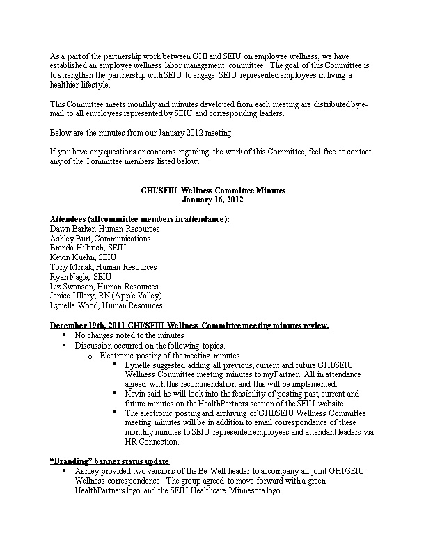 Below Are the Minutes from Our January 2012 Meeting