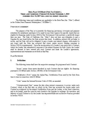 Beta Plan GS $Mart (Non-Tax Exempt), Terms and Conditions (Version 5.0) Dated November