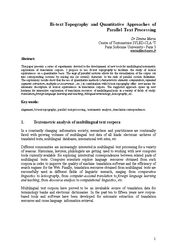 Bi-Text Topography and Quantitative Approaches of Parallel Text Processing