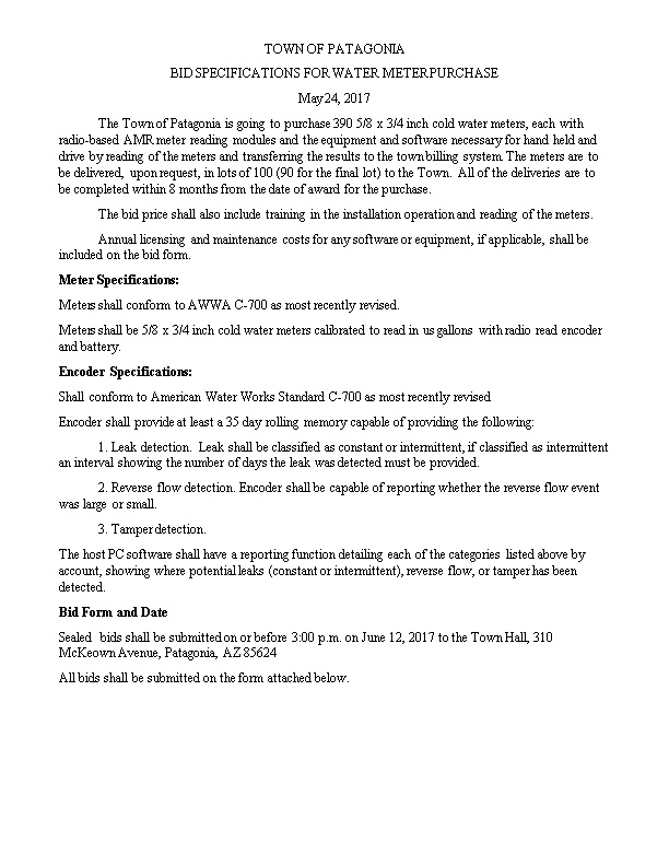 Bid Specifications for Water Meter Purchase