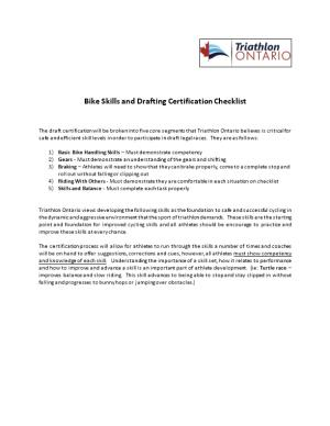 Bike Skills and Drafting Certification Checklist
