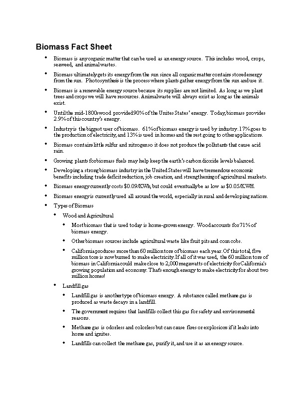Biomass Fact Sheet