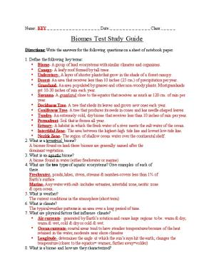 Biomes Test Study Guide