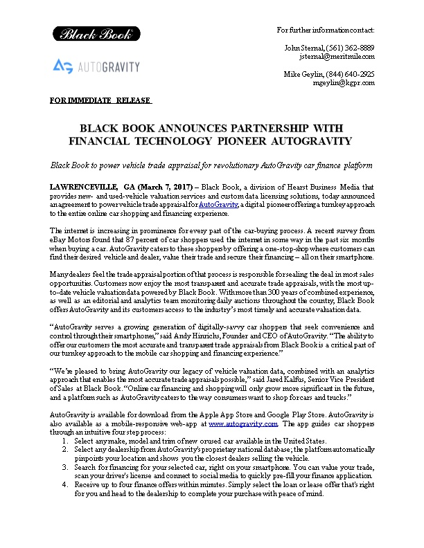 Black Book Announces Partnership with Financial Technology Pioneer Autogravity
