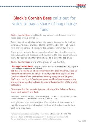 Black S Cornish Bees Calls out for Votes to Bag a Share of Bag Charge Fund