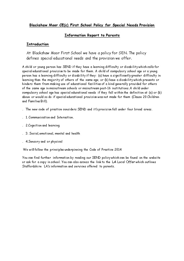 Blackshaw Moor CE(C) First School Policy for Special Needs Provision
