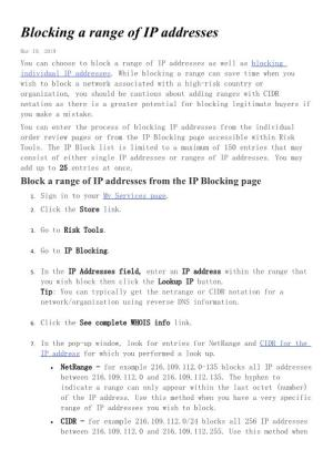 Blocking a Range of IP Addresses