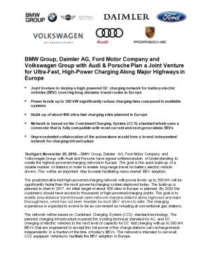 BMW Group, Daimler AG, Ford Motor Company and Volkswagen Group with Audi & Porsche Plan