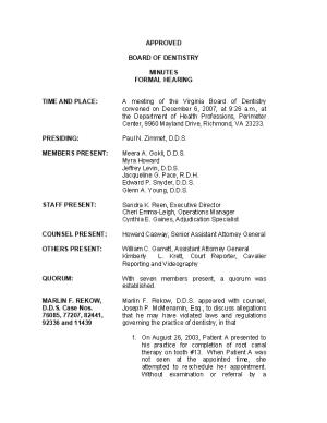 Board of Dentistry Minutes 12-06-2007