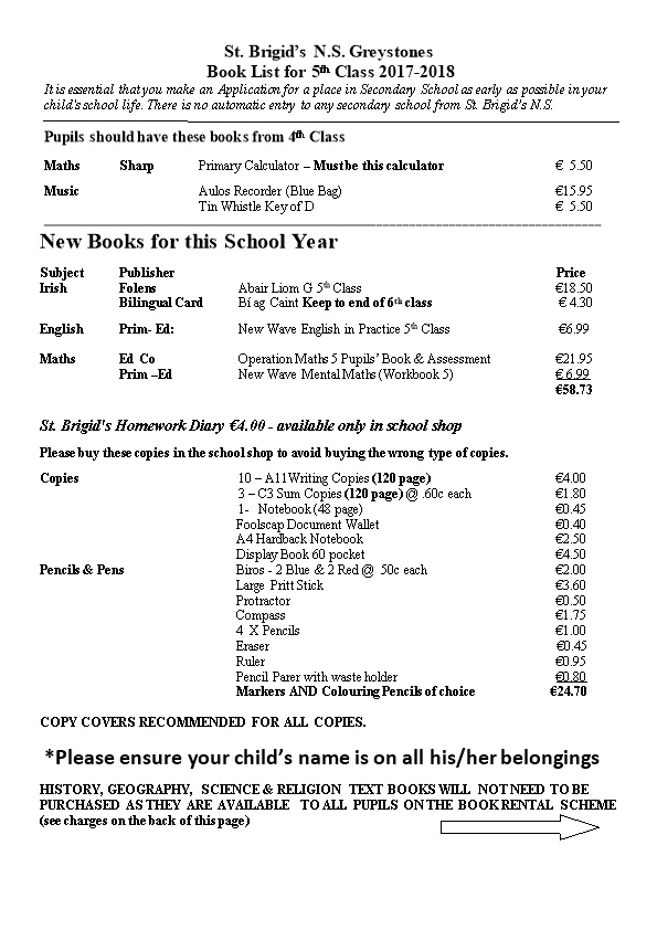 Book List for 5Th Class 2017-2018