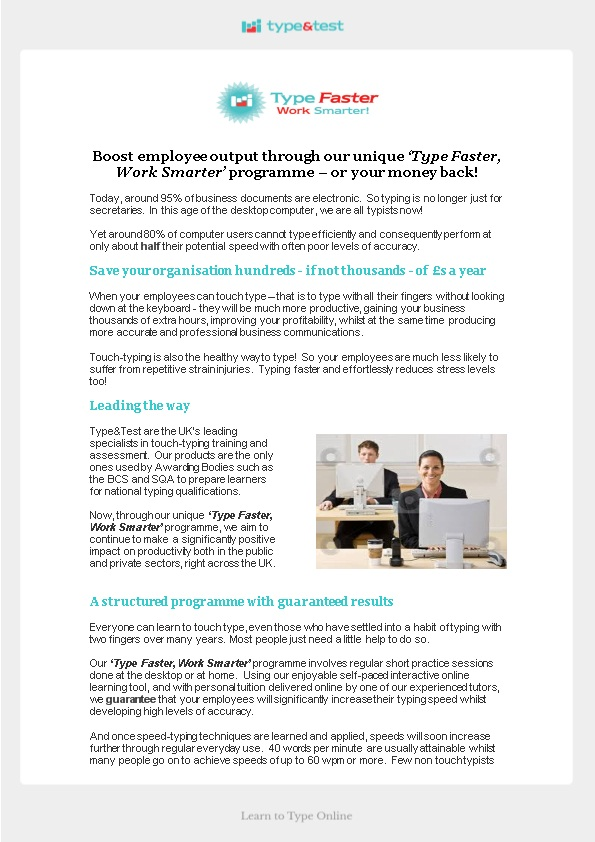 Boost Employee Output Through Our Unique Type Faster, Work Smarter Programme Or Your Money