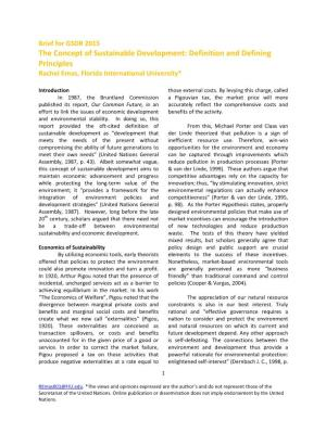 Brief for GSDR 2015: The Concept of Sustainable Development: Definition and Defining Principles