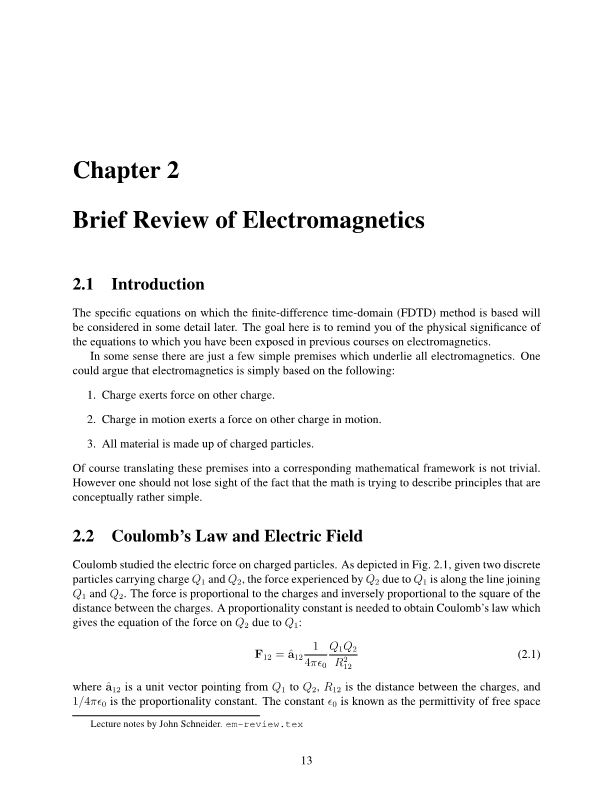 Brief Review of Electromagnetics