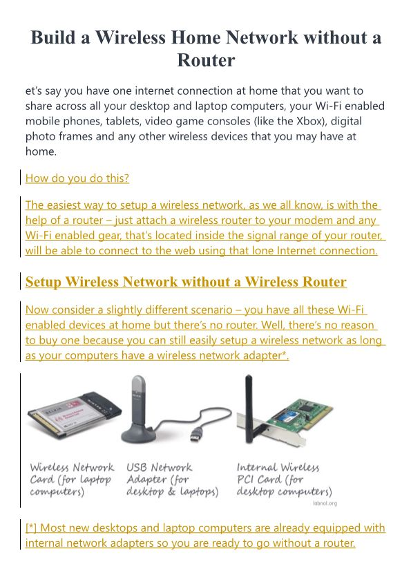 Build a Wireless Home Network Without a Router