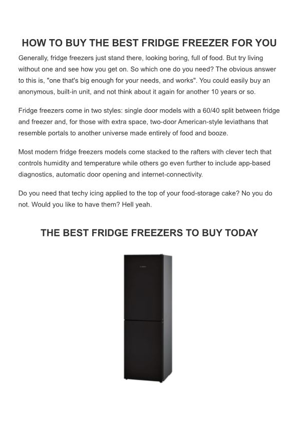 Buy the Suitable Fridge Freezer for You