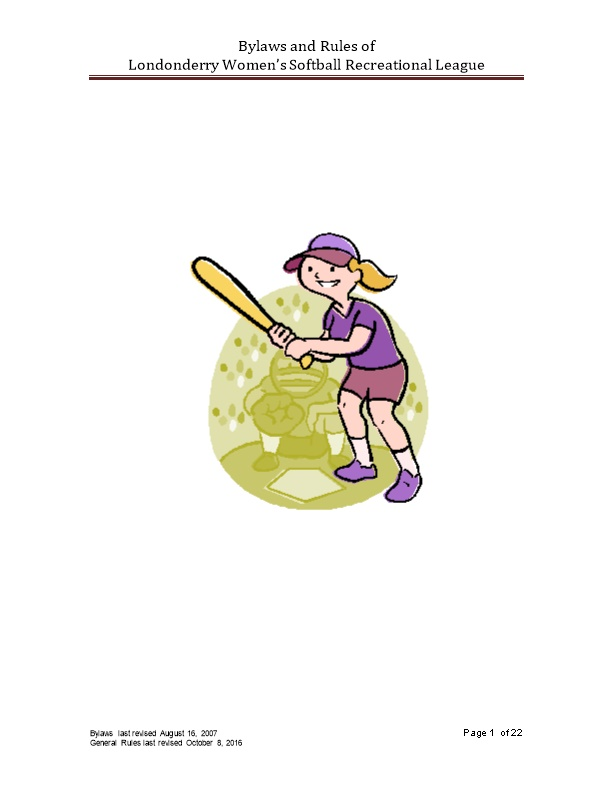 Bylaws and Rules of Londonderry Women S Softball Recreational League