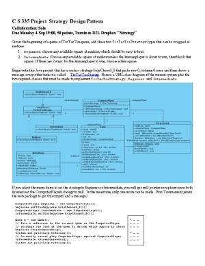 C S 335 Project Strategy Design Pattern