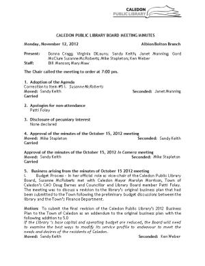 Caledon Public Library Board Meeting Minutes