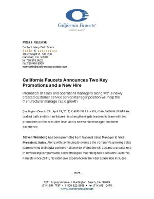 California Faucets Announces Two Key Promotions and a New Hire