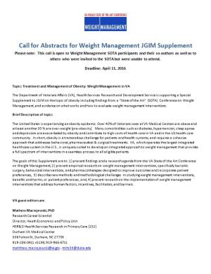 Call for Abstracts for Weight Management JGIM Supplement