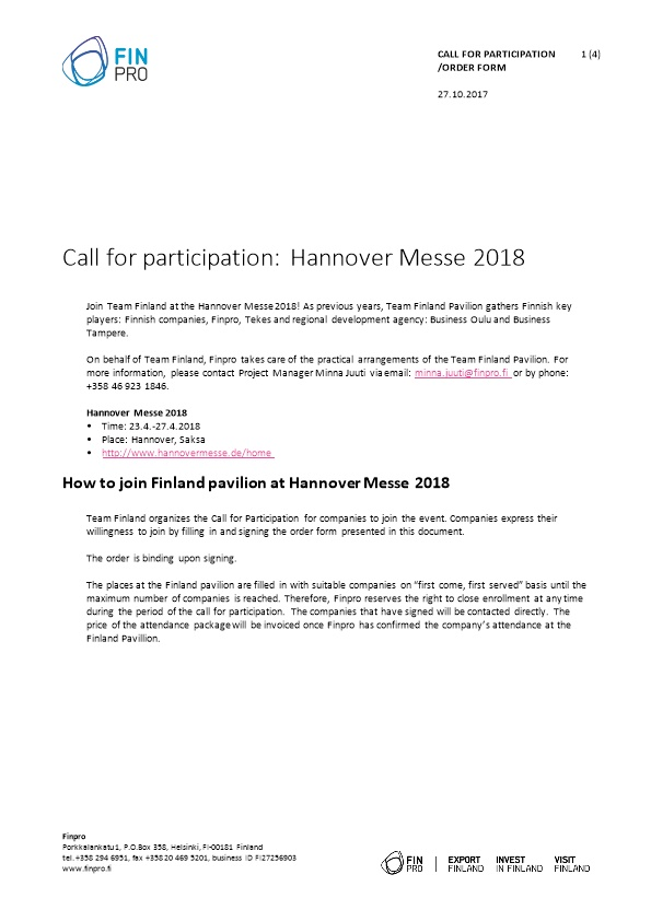 Call for Participation: Hannover Messe 2018