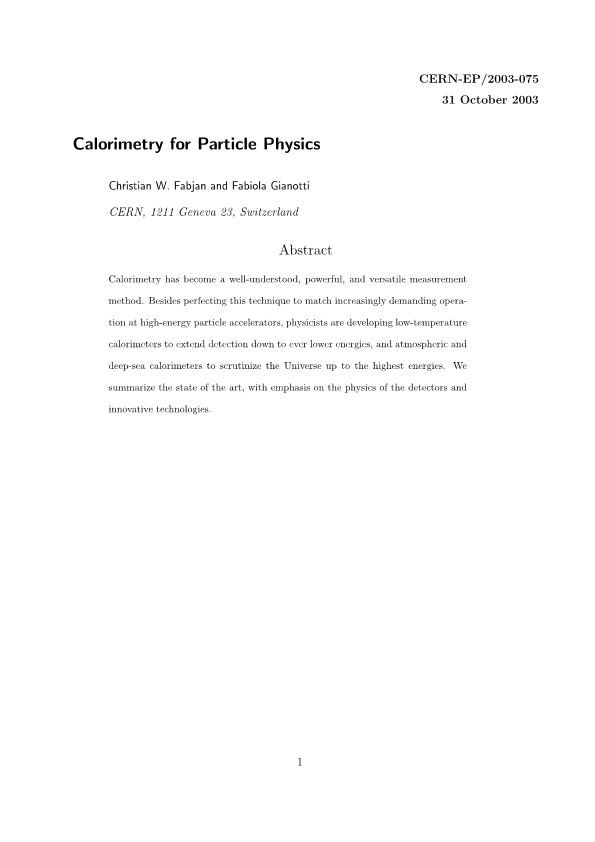 Calorimetry for Particle Physics