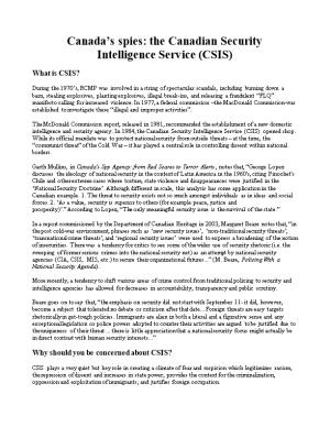 Canada S Spies: the Canadian Security