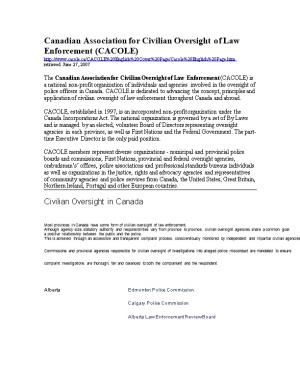 Canadian Association for Civilian Oversight of Law Enforcement (CACOLE)