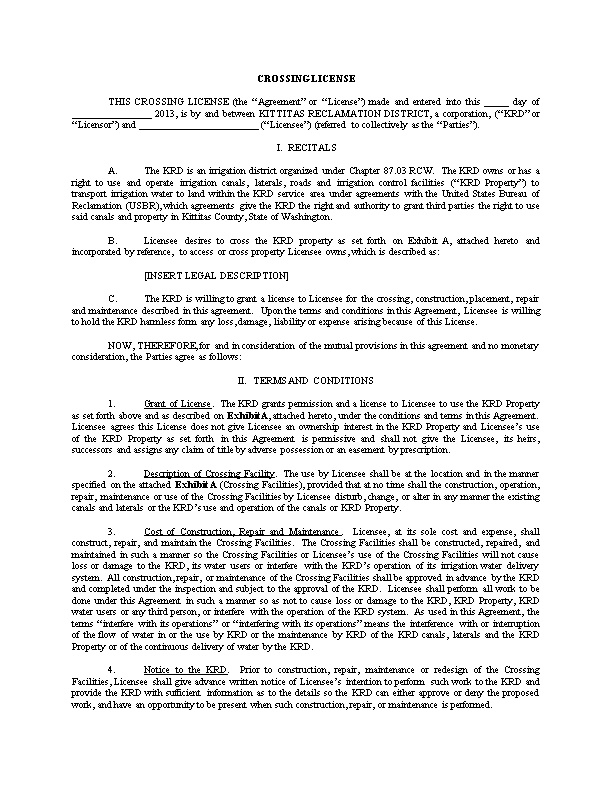 Canal Crossing Agreement