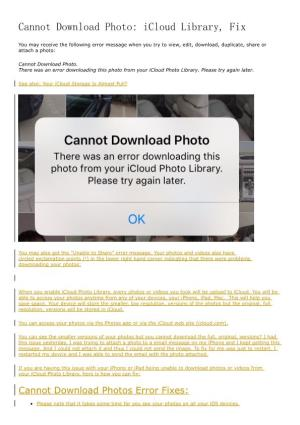 Cannot Download Photo: Icloud Library, Fix