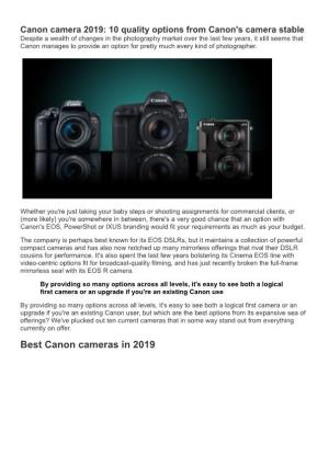 Canon Camera 2019 10 Quality Options from Canon's Camera Stable