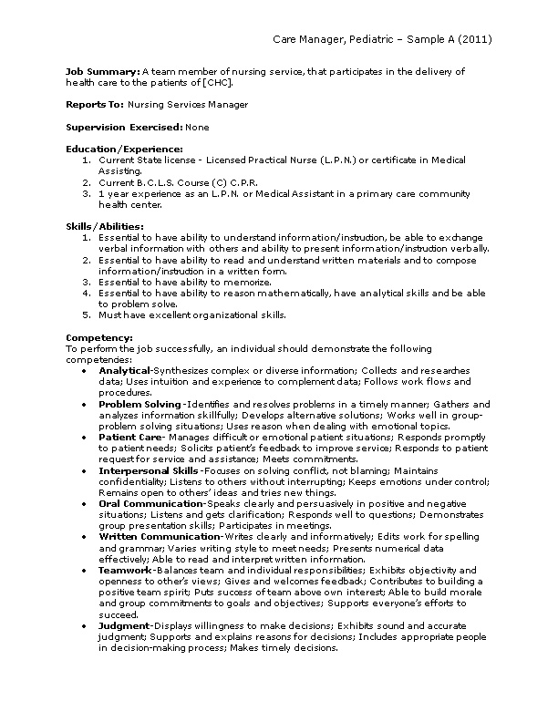 Care Manager, Pediatric Sample a (2011)