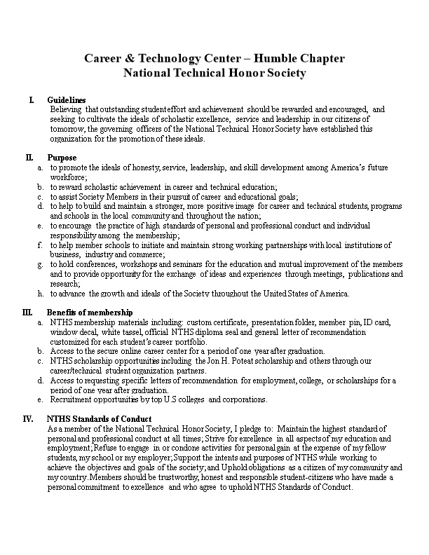 Career & Technology Center Humble NTHS Bylaws & Guidelines