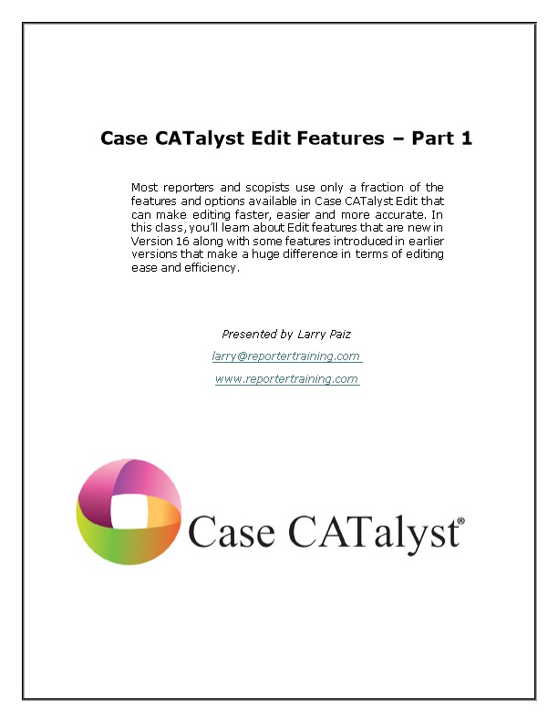 Case Catalyst Edit Features Part 1