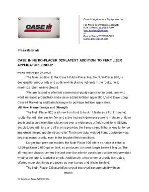 Case IH Nutri-Placer 920 Completes Fertilizer Applicator Lineup / Page 1